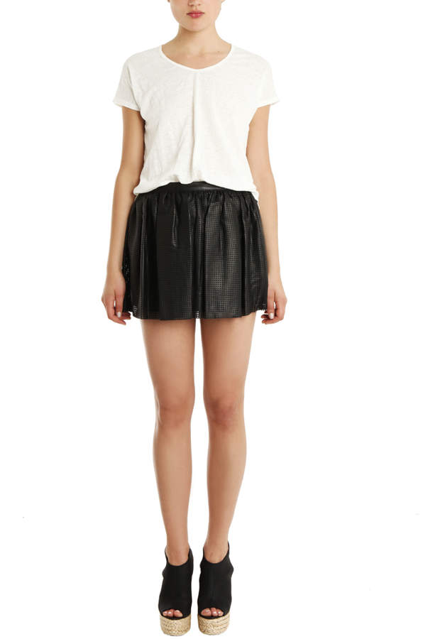 Pierre Balmain Perforated Leather Skirt