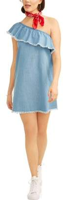 Derek Heart Juniors' Denim One Shoulder Ruffle Dress