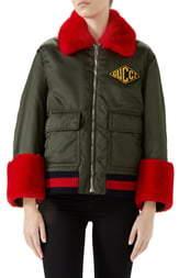 a8a5ec387 Gucci Faux Fur Trim Nylon Flight Jacket