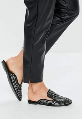Missguided Black All Over Embellished Slip On Mules