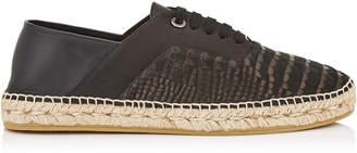 Jimmy Choo LUKE Black Crocodile Printed Nubuck Lace Up Espradrilles