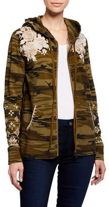 Johnny Was Sienne Camo Zip-Front Hoodie, Plus Size
