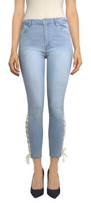 Tractr Ankle Crop Lace Up Hem Jean