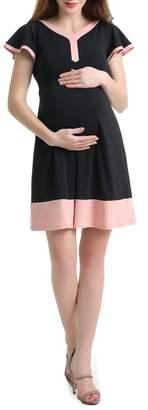 Kimi and Kai Regan Colorblock Skater Maternity Dress