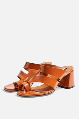 df68d9d43653 Topshop REYA Vegan Brown High Toe Loop Heels