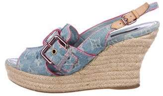 Louis Vuitton Denim Espadrille Wedges