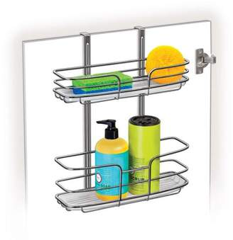 Lynk Over Cabinet Door Organizer, Double Shelf with Molded Tray, Chrome