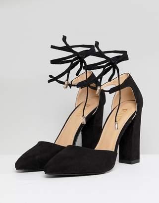 84f808de1389 Raid RAID Pamela Black Ankle Tie Block Heeled Shoes