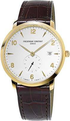 Frederique Constant Men's 'SlimLine' Swiss Quartz Gold-Tone and Leather Dress Watch