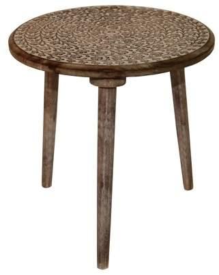 Privilege Round Antique White Wood Accent Table