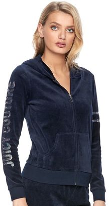 Women's Juicy Couture Embellished Velour Hoodie Jacket $54 thestylecure.com