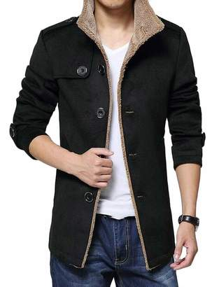 75d3849d39 XiaoTianXin-men clothes XTX Men Fleece Lined Winter Single Breasted Slim  Fit Pea Coat Trench