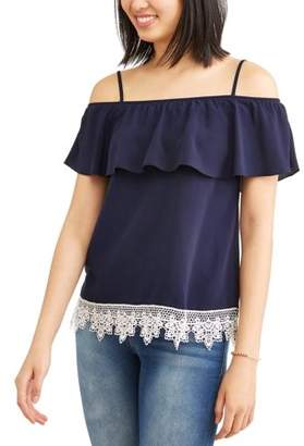 No Boundaries Juniors' Ruffle Flounce Crochet Trim Cold Shoulder Blouse