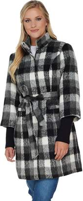 Isaac Mizrahi Live! Plaid Funnel Neck Coat with Storm Cuffs