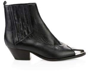 Schutz Women's Luccyen Ribbed Leather Booties - Black - Size 5.5