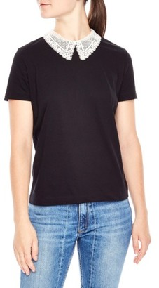 Women's Sandro Lace Collar Tee $155 thestylecure.com