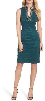 Eliza J Beaded Split Neck Dress