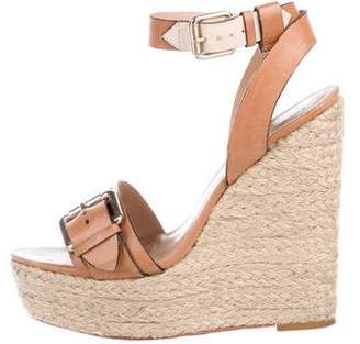 Pour La Victoire Leather Ankle Strap Wedges