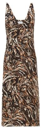 Raey Bust Cup Marbled Animal Print Silk Slip Dress - Womens - Brown Print