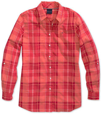 Tommy Hilfiger Adaptive Women's Plaid Shirt with Magnetic Buttons