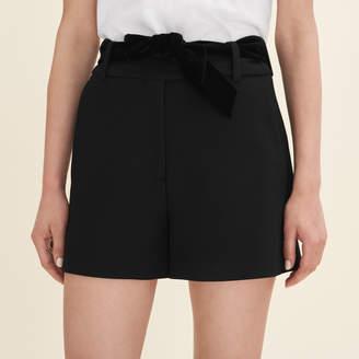 Maje High-waisted crepe shorts