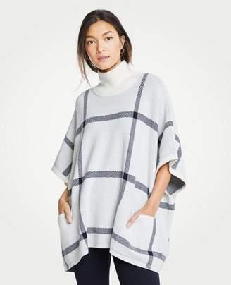 Ann Taylor Petite Plaid Poncho Sweater