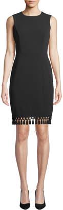 Iconic American Designer Tassel-Hem Sleeveless Sheath Dress