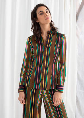And other stories Striped Satin Button Up Shirt