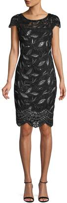 Calvin Klein Sequined Lace Cap-Sleeve Dress