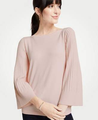 Ann Taylor Petite Boatneck Pleated Sleeve Sweater