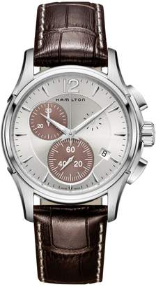 Hamilton Jazzmaster Stainless Steel Leather-Strap Chronograph Watch