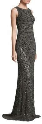 Theia Metallic Beaded Gown