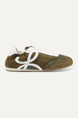 Loewe Suede And Leather Sneakers - Army green
