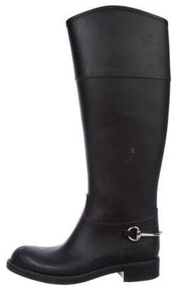 Gucci Leather-Trimmed Rain Boots