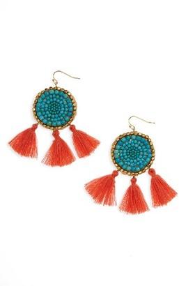 Women's Panacea Howlite Medallion Tassel Earrings $32 thestylecure.com