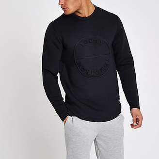 River Island Only and Sons navy embossed sweatshirt