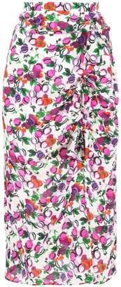 Saloni floral draped midi skirt