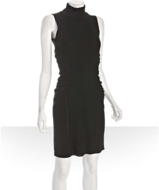 Calvin Klein black wool blend ruched turtleneck sweater dress