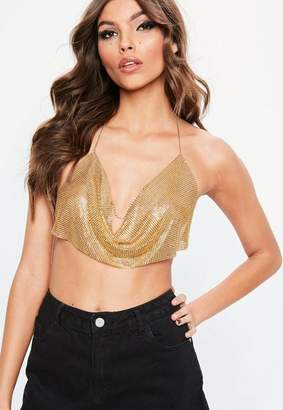 Missguided Gold Look Chainmail Bralette
