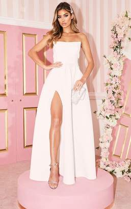 PrettyLittleThing White Scuba Bandeau Maxi Dress