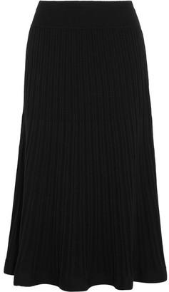 DKNY - Ribbed Stretch-knit Midi Skirt - Black $220 thestylecure.com