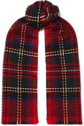 Johnstons of Elgin Tartan Basketweave Cashmere Scarf - Red