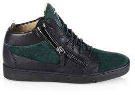 Giuseppe Zanotti Double-Zip Leather& Suede Mid-Top Sneakers