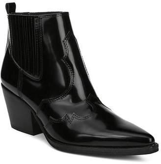 Sam Edelman Women's Winona Pointed-Toe Mid-Heel Leather Booties