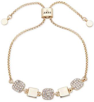 DKNY Gold-Tone Square Pave Slider Bracelet
