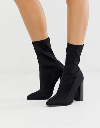 Public Desire Libby high heeled sock boots in black