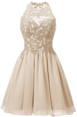 Cdress Appliques Bodice Short Chiffon Homecoming Dresses Backless Prom Formal Gowns US