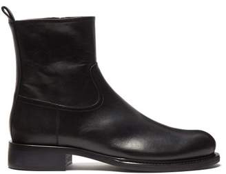Ann Demeulemeester Zipped Leather Ankle Boots - Womens - Black