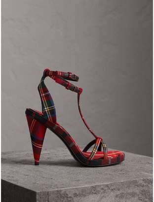 Burberry Tartan Wool High Cone-heel Sandals