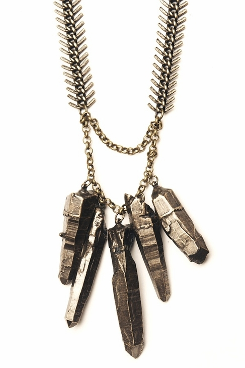 Luv Aj Graduated Crystal Necklace in Brass Ox with Brass Chain